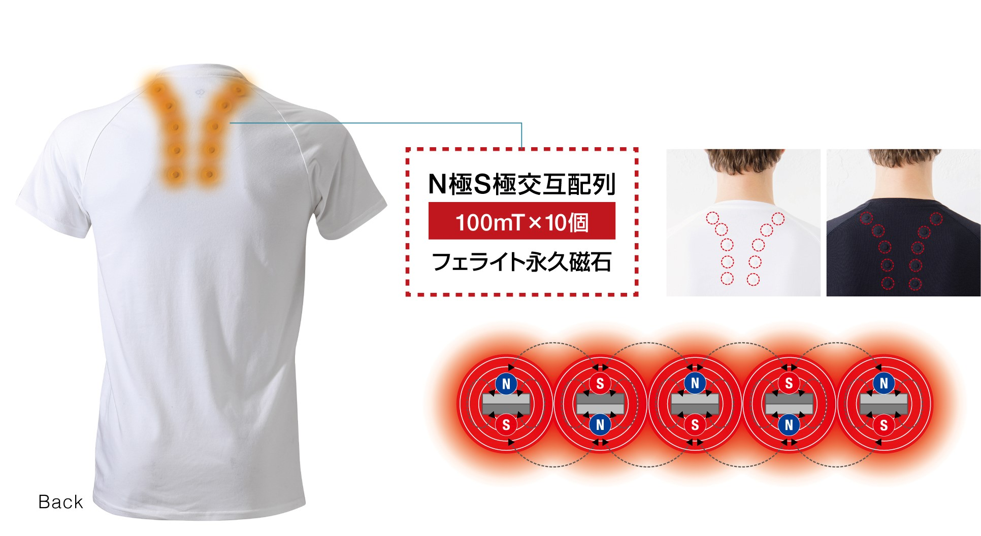コラントッテ レスノ マグケアシャツ Vネック T 磁石配置イメージ図