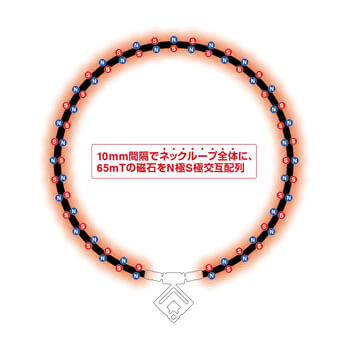 TAO ネックレスα ARAN 磁石配置図